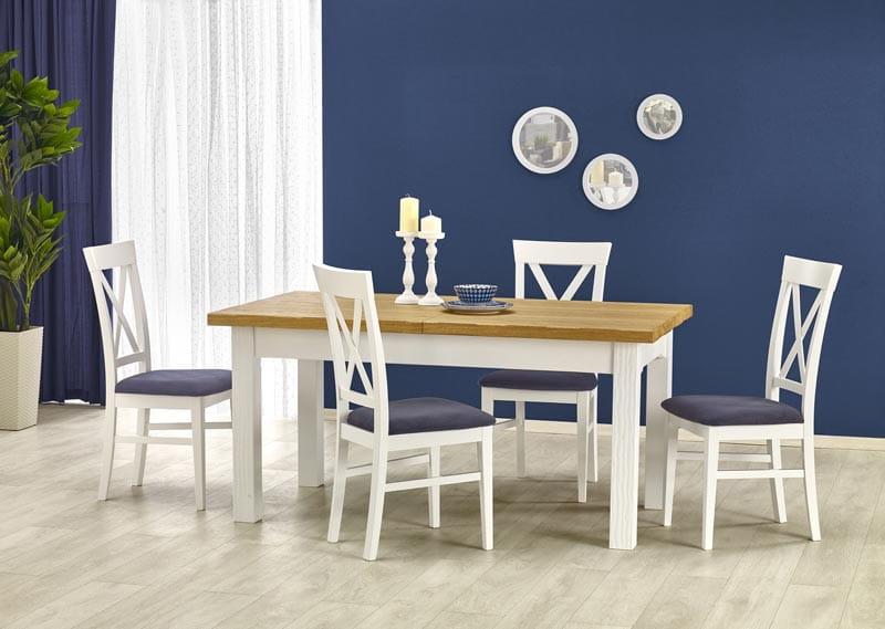 LEONARDO stół biały/dąb miodowy